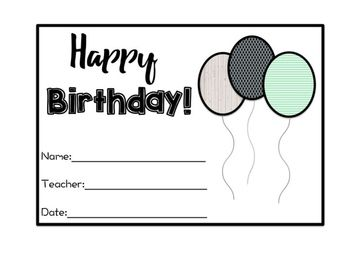 Perfect birthday addition to for your farmhouse, rustic, or vintage classroom.This item is editable as in you can add a text box and type in your information in the designated spaces/places.  Included is the following:*Birthday Balloons*Birthday postcard *Teacher Binder Page or could be blown up and used as a poster display.