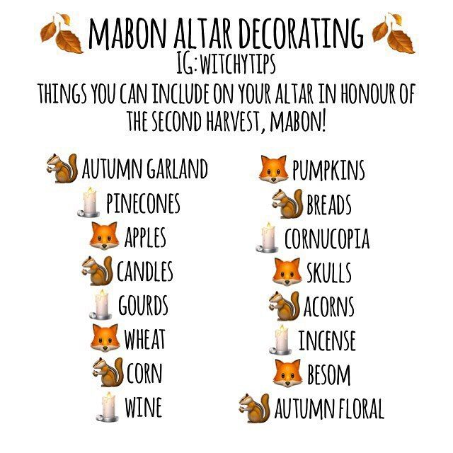 Lots of different ideas you can use to decorate your Mabon altar!