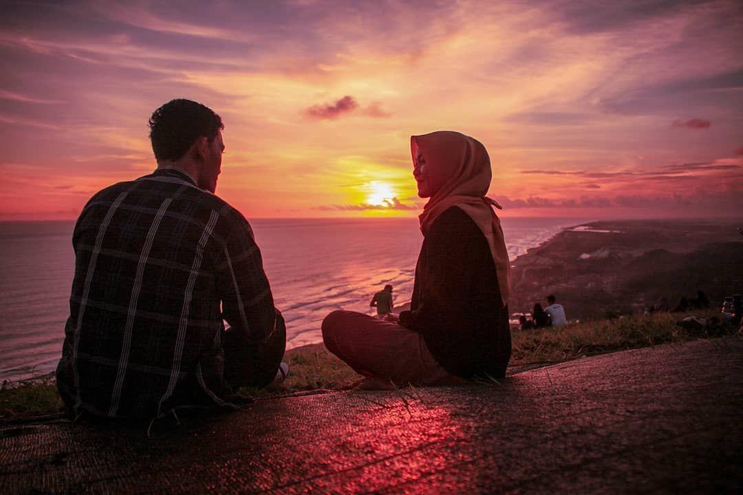 Couple Sunset Senja Romantis Sosweet Romamtic Couplegoals