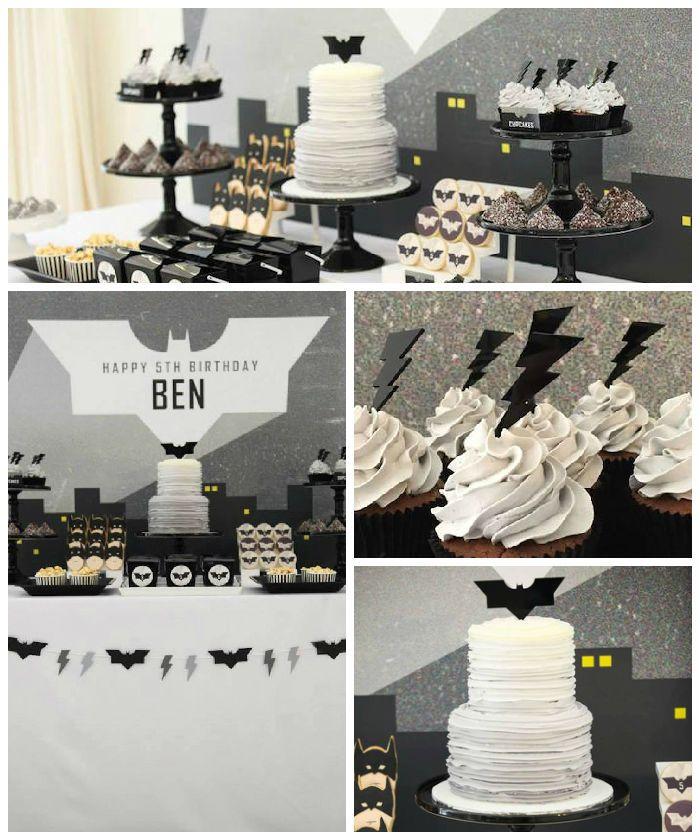 Modern Batman Birthday Party via Kara's Party Ideas   by Sugar Coated Mama! Batman desserts, printables, recipes, and more! KarasPartyIdeas.com