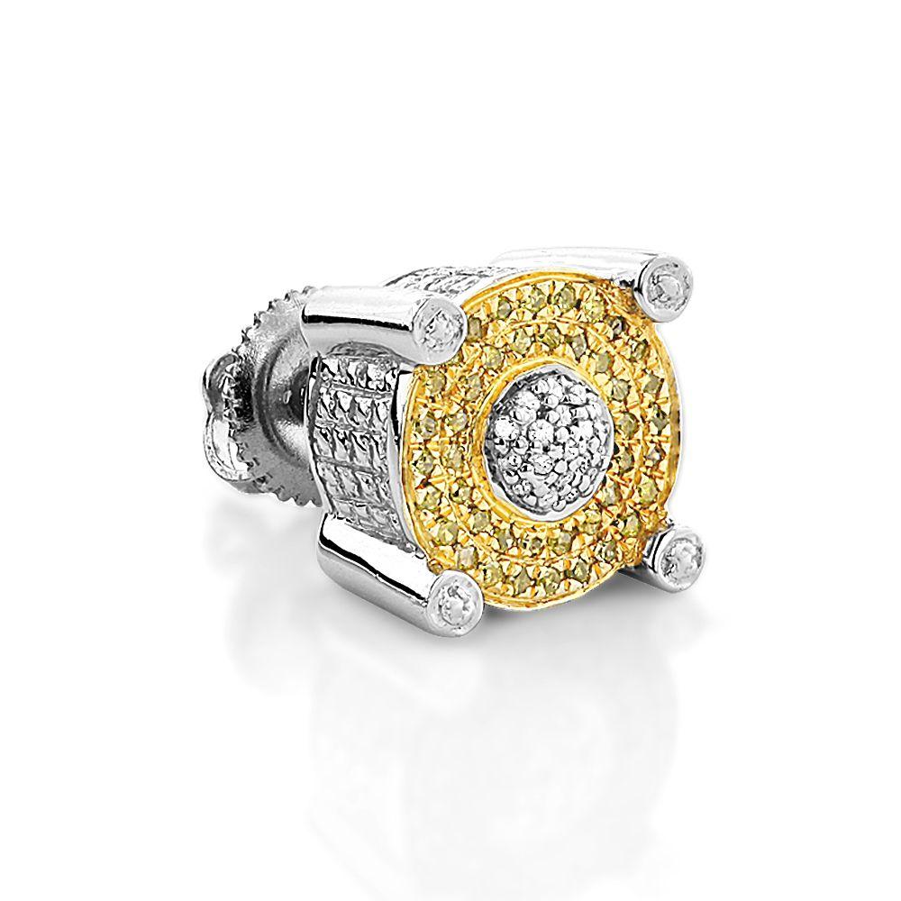 White And Yellow Diamond Earring 0 25ct Single Mens Stud