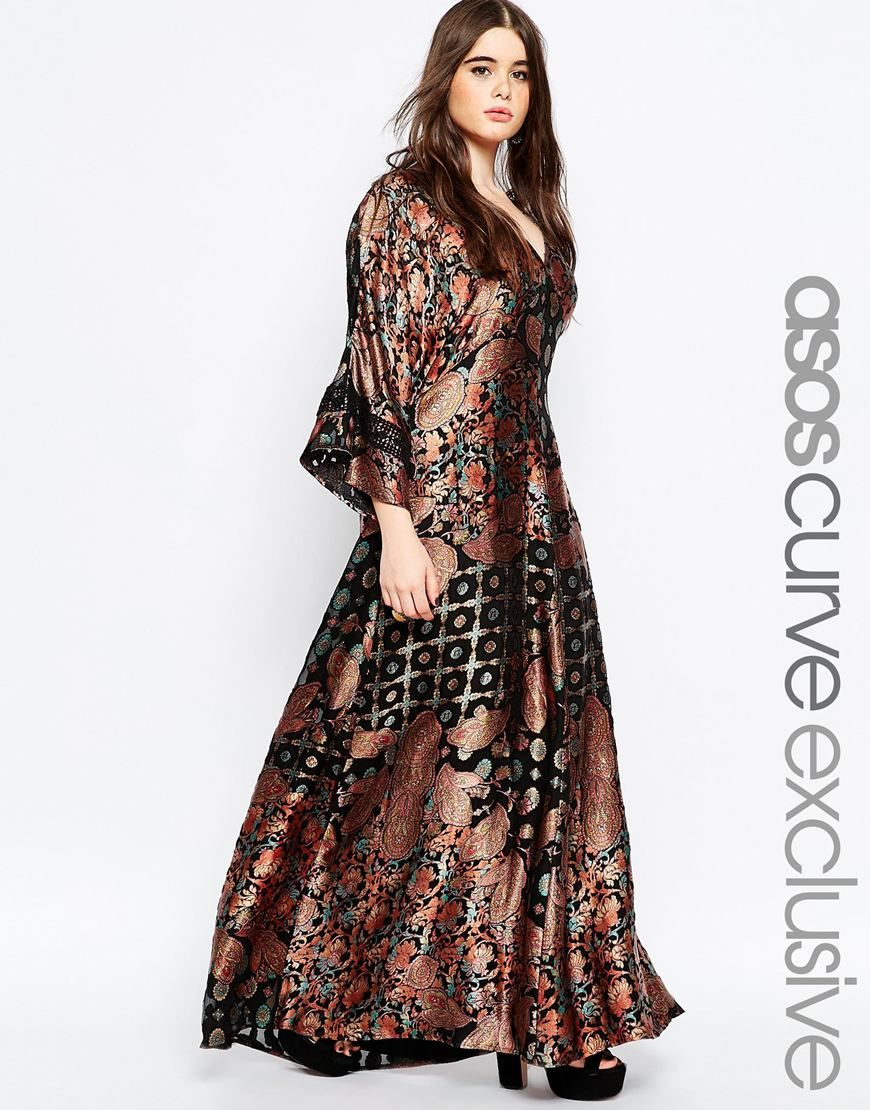 Asos curve s kimono maxi dress in paisley burnout my style