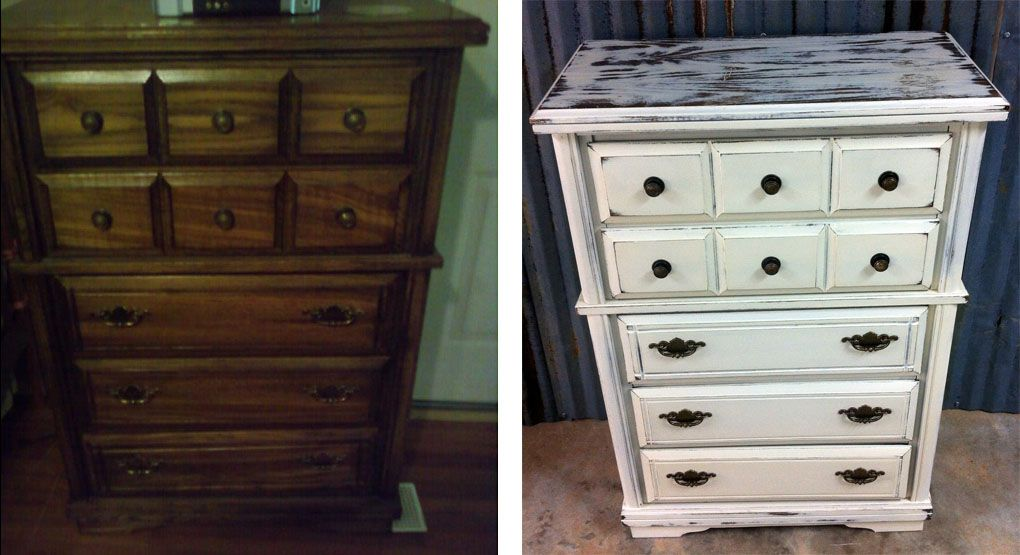 Before and After Chest of Drawers. Painted by A to Z Custom Creations with chalk paint. Heavily distressed and waxed.
