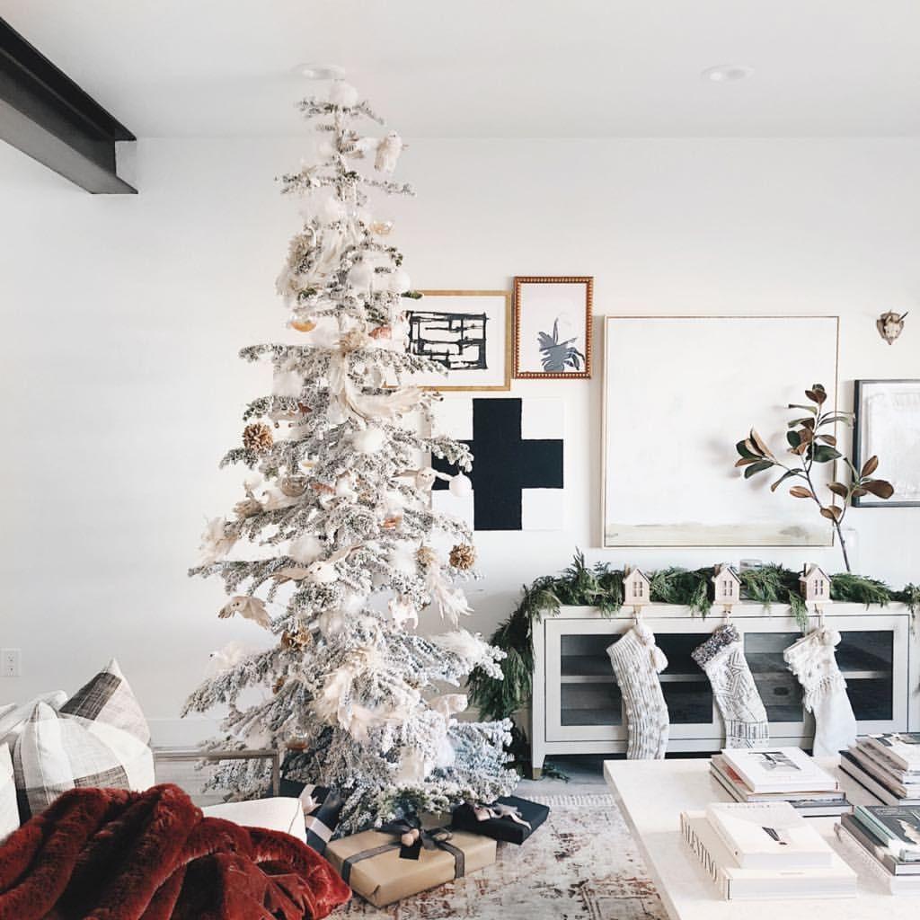Home, Christmas tree, Anthropologie Home, flocked tree, living room ...