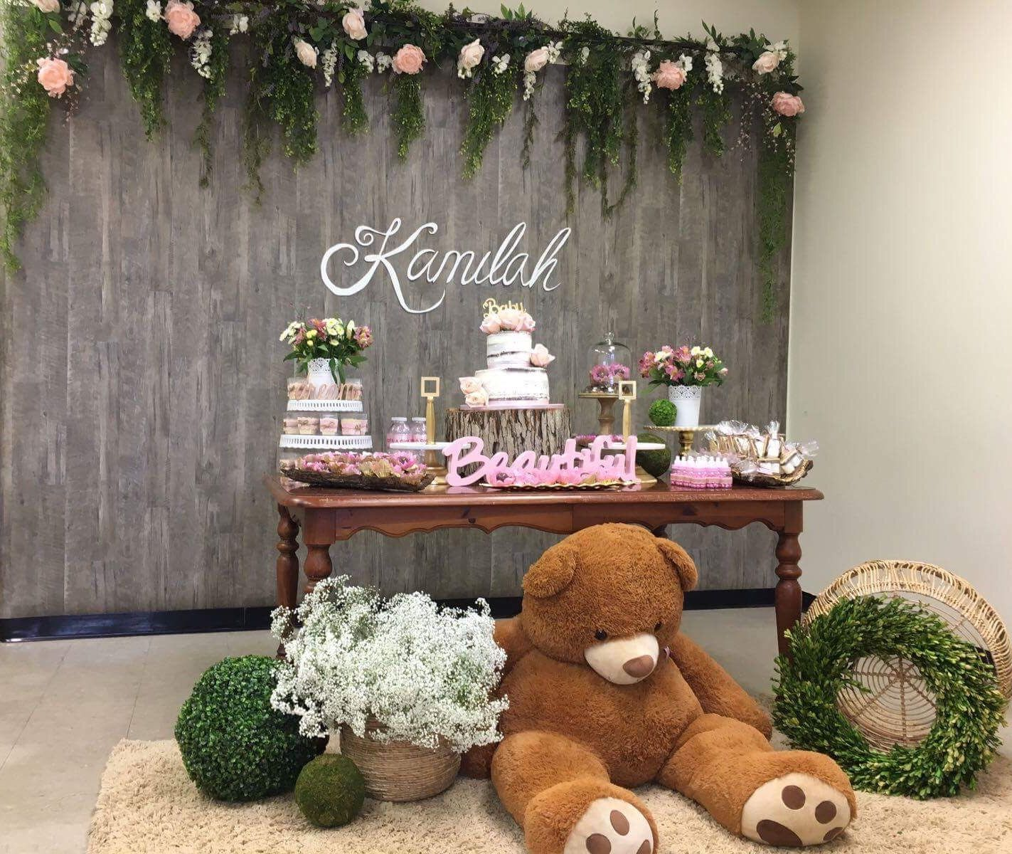 Rustic baby shower decor wood background