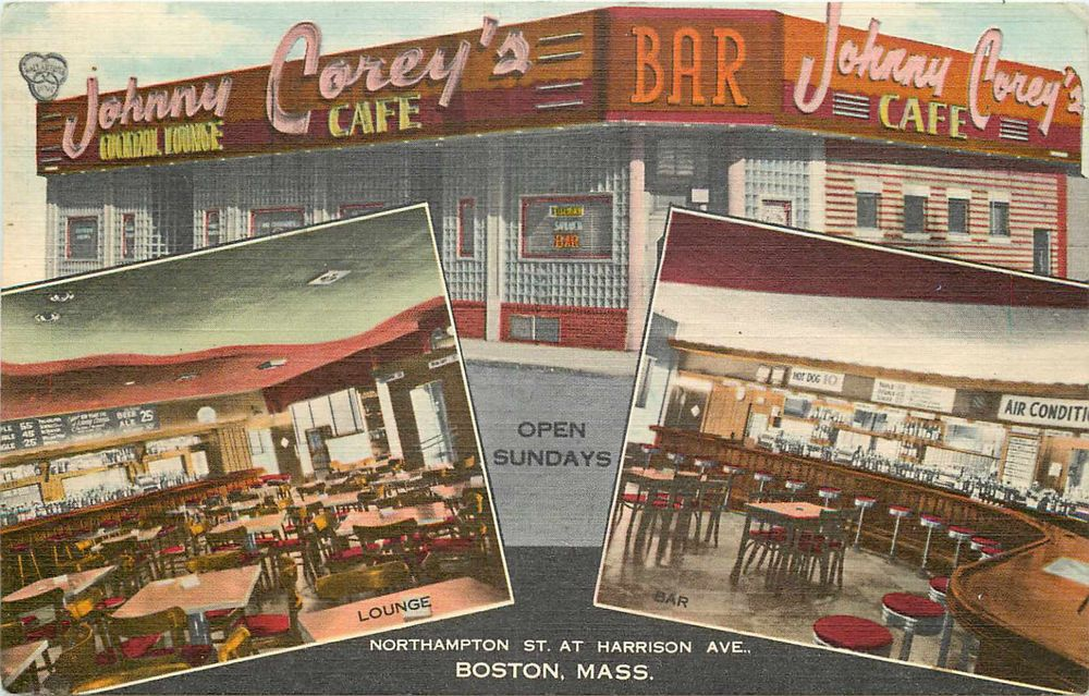 Johnny Corey's Cafe & Bar ~BOSTON MA~ Old multi-image Linen Advertising Postcard
