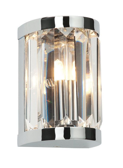 Saxby 39628 crystal bathroom wall light chrome and glass modern fitting ip44