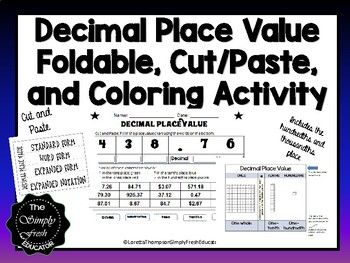 Decimal Place Value Foldable with Cut and Paste Coloring