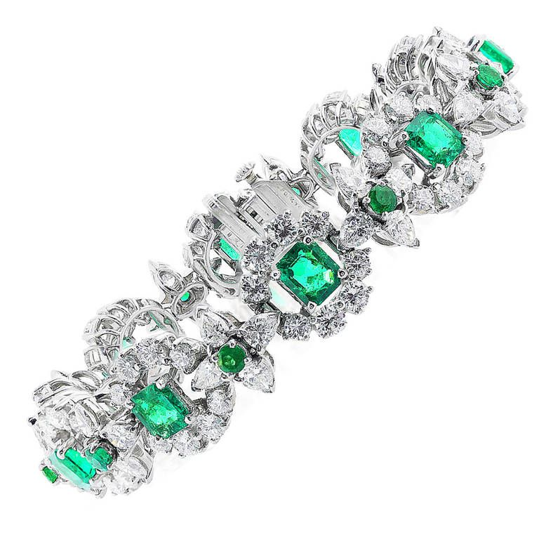 Oscar Heyman Brothers Emerald Diamond Bracelet. Platinum flexible bracelet consisting of 14.26 carats total weight of round brilliant and marquise cut diamonds set with 8.08 carats total weight of square and round cut Colombian emeralds, signed Oscar Heyman Brothers with letter of authenticity. 21st century