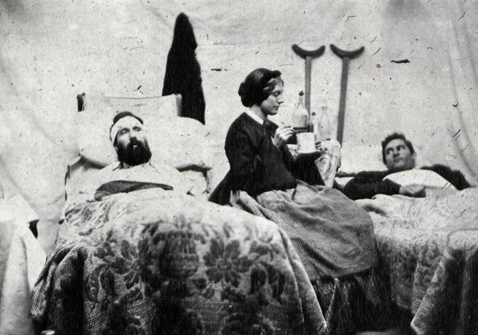 Nurse Anne Bell tending to wounded soldiers in a Union