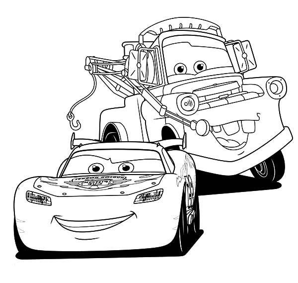 Cars Doc Hudson Tow Mater Lightning Mcqueen Printable Cartoon Coloring Pages Coloring Pages For Boys Coloring Books