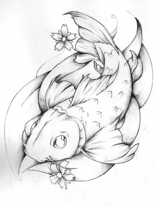 Koi fish tattoo drawings koi fish by crucible101 on for Coy fish drawing