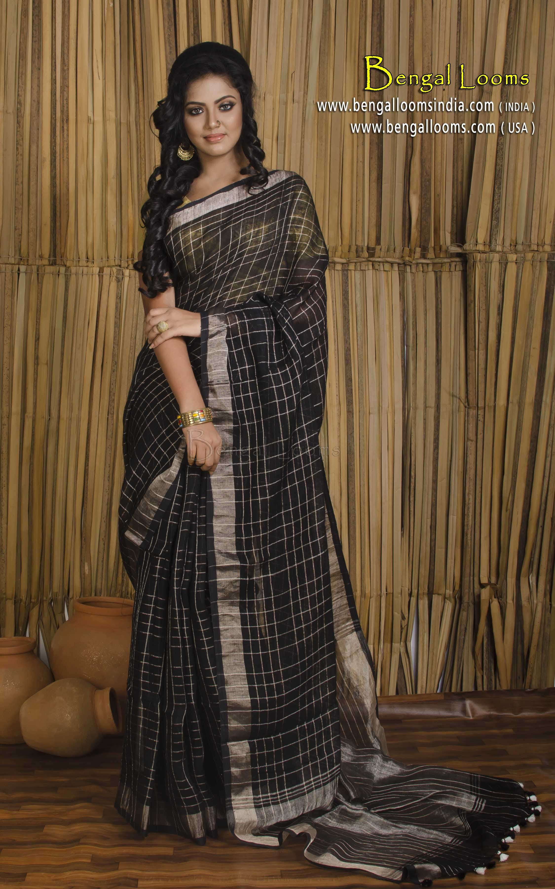 d7f96af02 Pure Handloom Linen Checks Saree in Black and Antique Gold