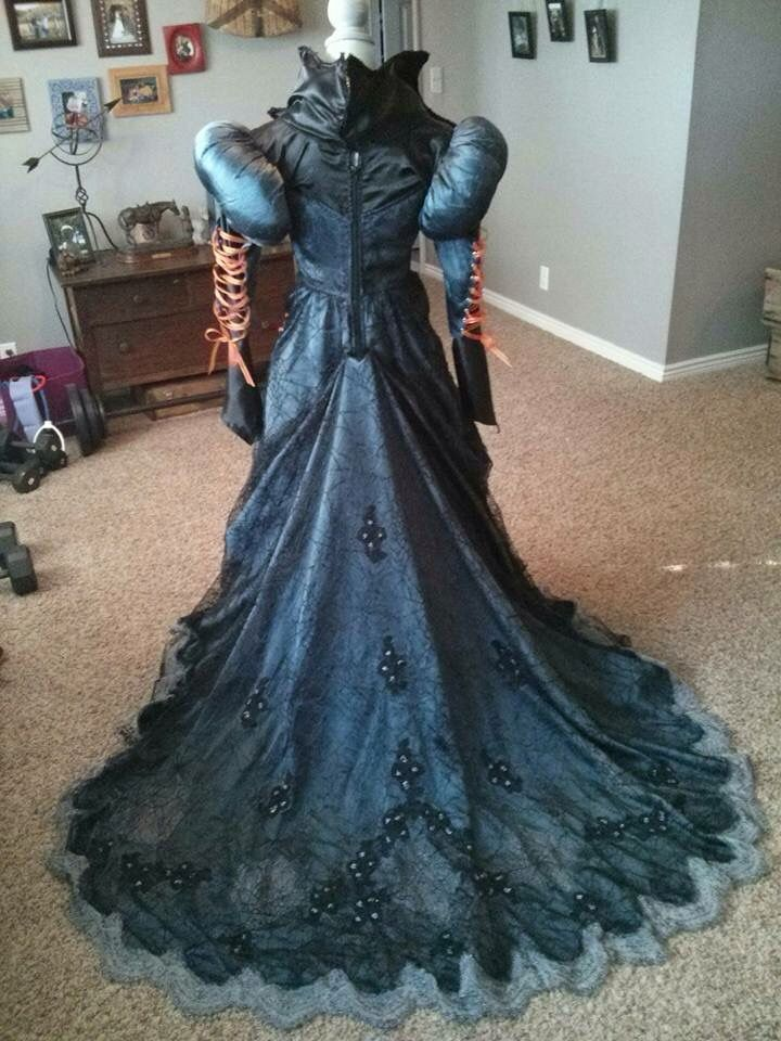 Back of an old wedding dress repurposed in to a witch costume.