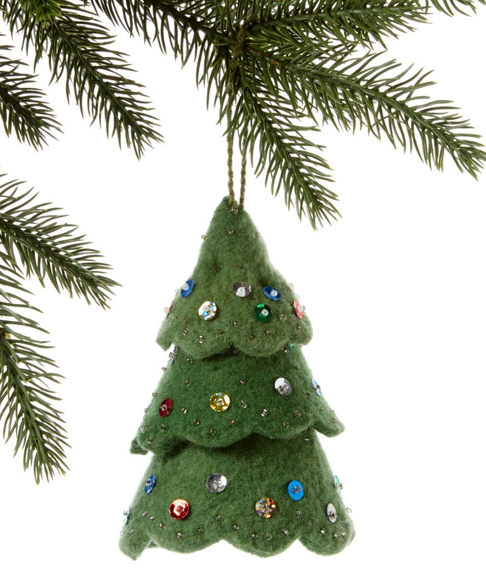 Love this Green Christmas Tree & Colored Décor Handmade Wool ...