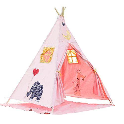 BATTOP Canvas Kids Teepee Play Tent Pink by BATTOPToysGames -- Check out this great product  sc 1 st  Pinterest & BATTOP Canvas Kids Teepee Play Tent Pink by BATTOPToysGames ...