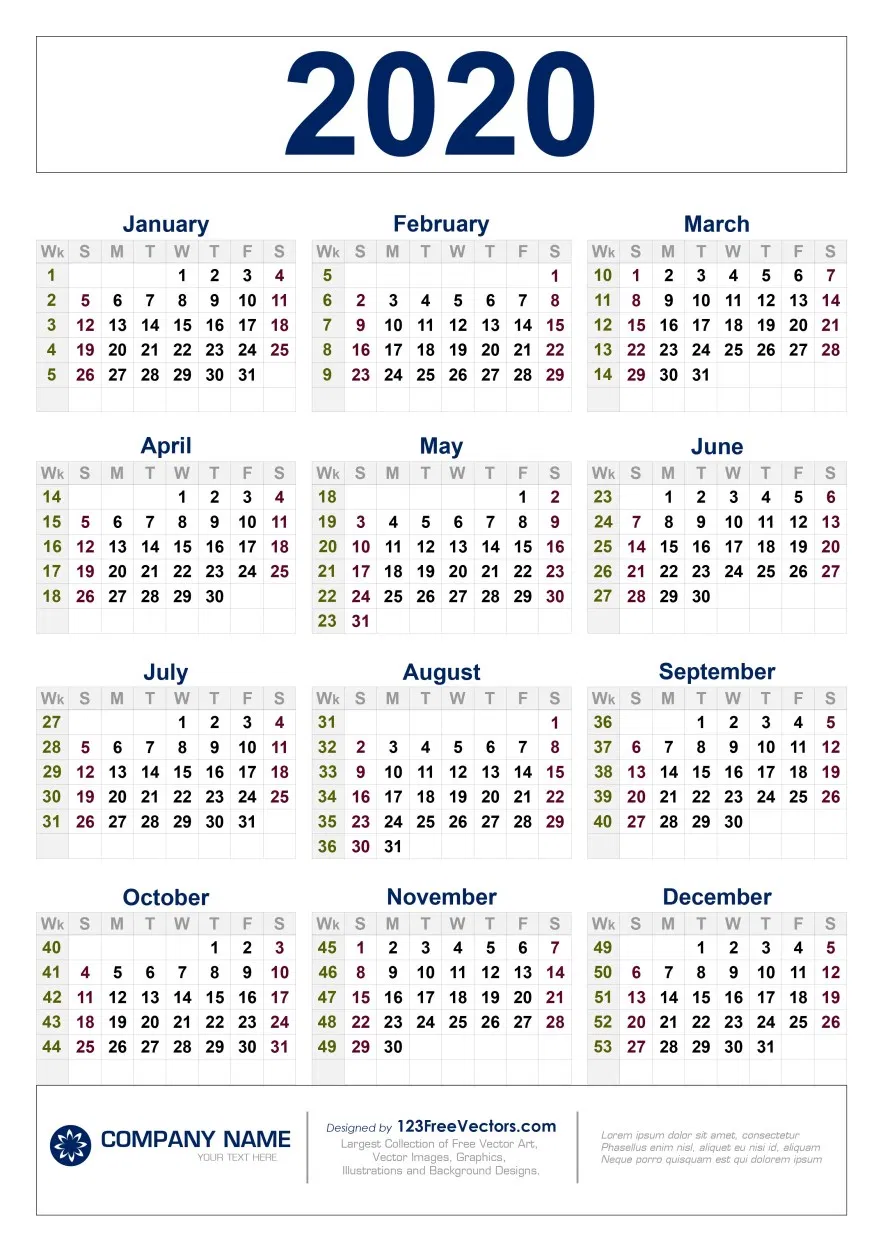 Free Download 2020 Calendar With Week Numbers In 2020 Calendar With Week Numbers Print Calendar Calendar Printables