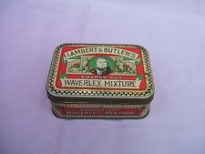 Old Embossed Lambert & Butler's Coarse Cut Waverley Mixture Tobacco Tin c 1930s