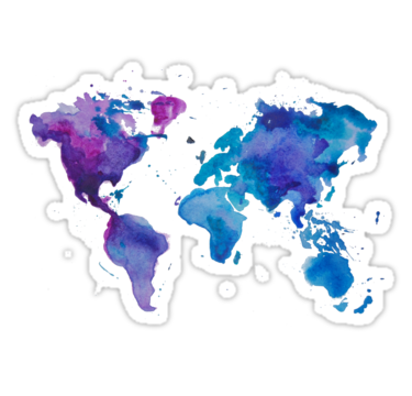 Watercolor map of the world sticker by ychty watercolor map and watercolor map of the world t shirt by anastasiia kucherenko gumiabroncs Image collections