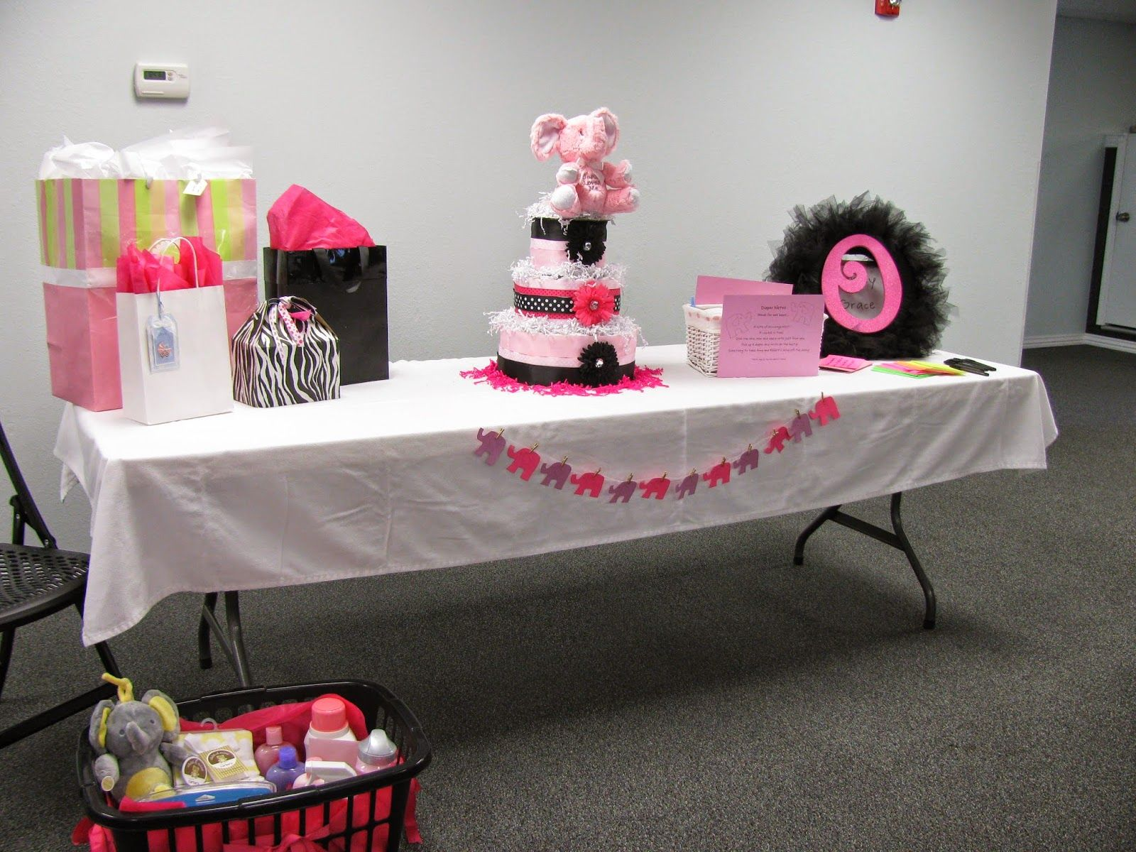 Mirandas Great Finds Pink Elephant Baby Shower Gift Table