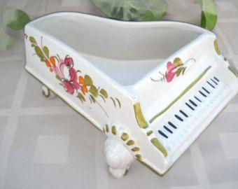 Vintage Porcelain Open Top Piano Bowl Box Figurine - Porcelain Piano Figurine - Vintage Figurine