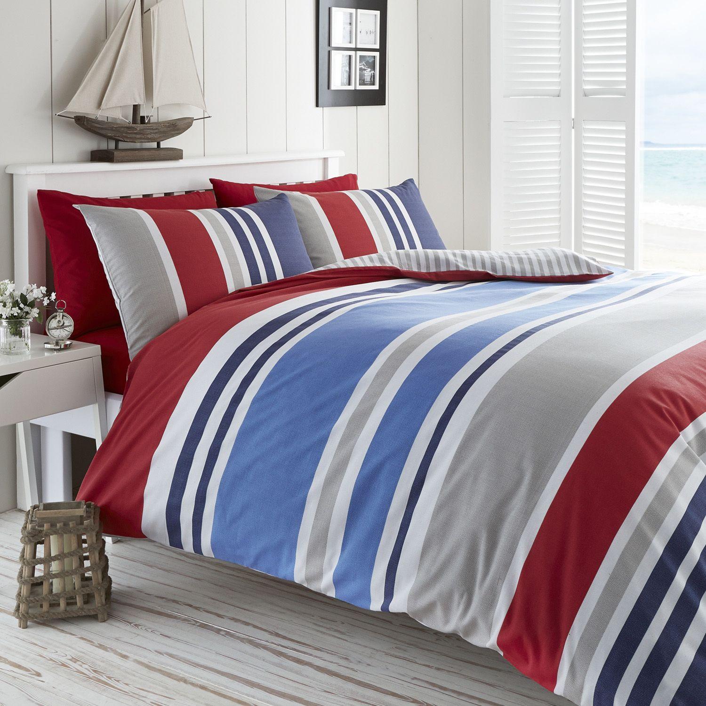 Laguna Stripe Red Duvet The Range Blue Duvet Striped Bedding Red Duvet Cover