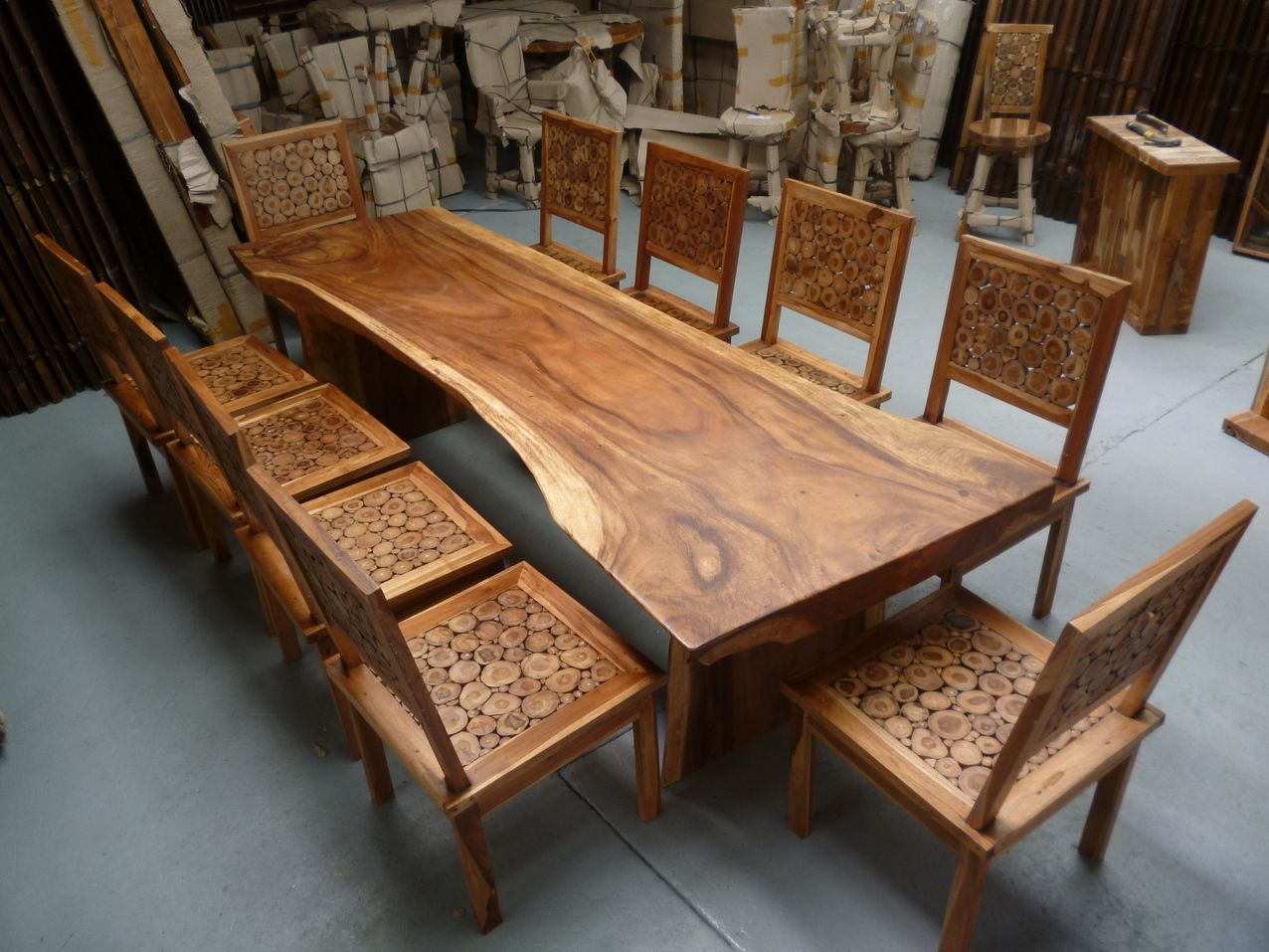 10 Seater Wooden Dining Table 2 7m Long Murex Decor