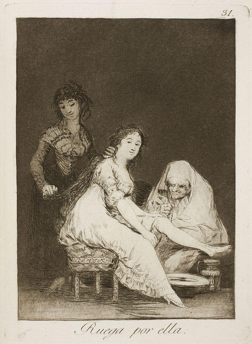 """Francisco de Goya: """"Ruega por ella"""". Serie """"Los caprichos"""" [31]. Etching, aquatint, drypoint and burin on paper, 205 x 150 mm, 1797-99. Museo Nacional del Prado, Madrid, Spain"""