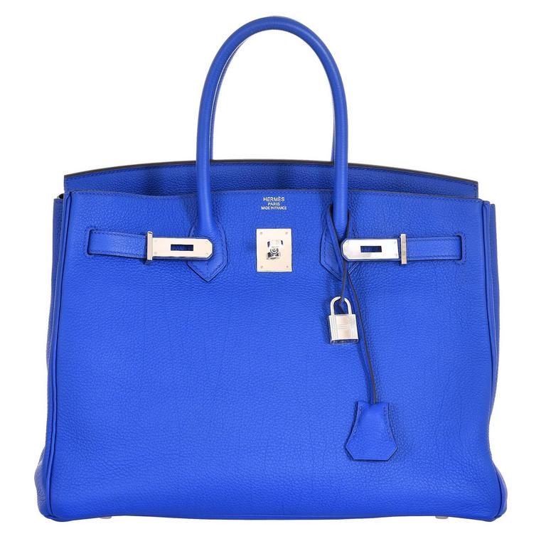 0f2b0f4e664d Hermes 35cm Birkin Bag Blue Electric Palladium Hardware Togo JaneFinds