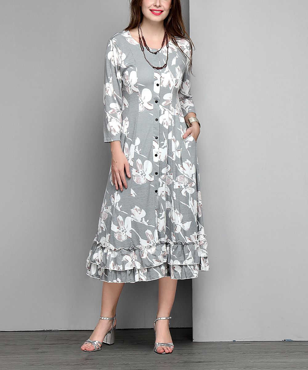Gray Floral Button-Down Ruffle-Hem Maxi Cardigan - Plus | Products ...
