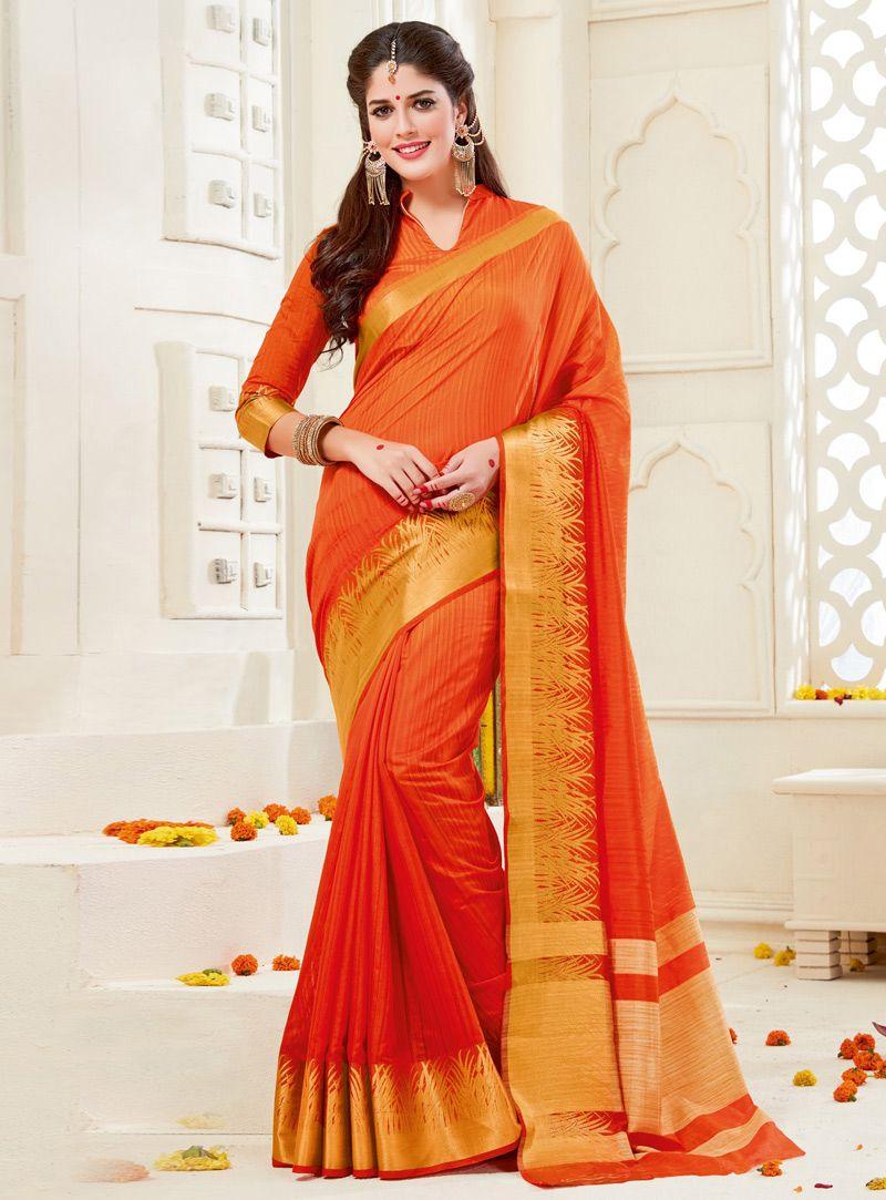 e2f7e149ab Izabelle Leite Orange Silk Saree With Blouse 115350   Indian ...