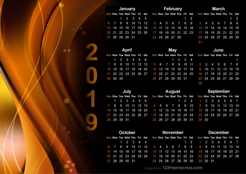 Calendar 2019 Design Templates Free Download Free Vectors Pinterest