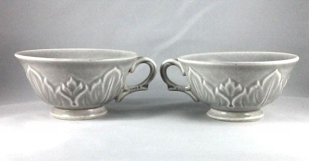 Vintage Russell Wright Steubenville Woodfield Coral Cups  Light gray coloring with a leaf pattern.  Cup are 4 inches wide, no chips or cracks. #Steubenville #Woodfield
