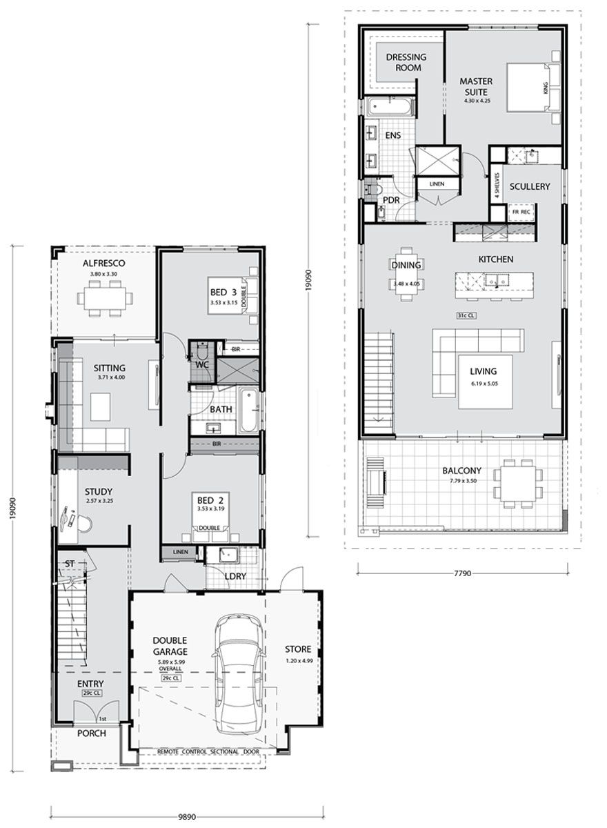 Bayview Key Features Everyday Living Upstairs With Chef Style Kitchen Walk In Pantry Open Plan L Narrow House Plans Beach House Plans Two Storey House Plans