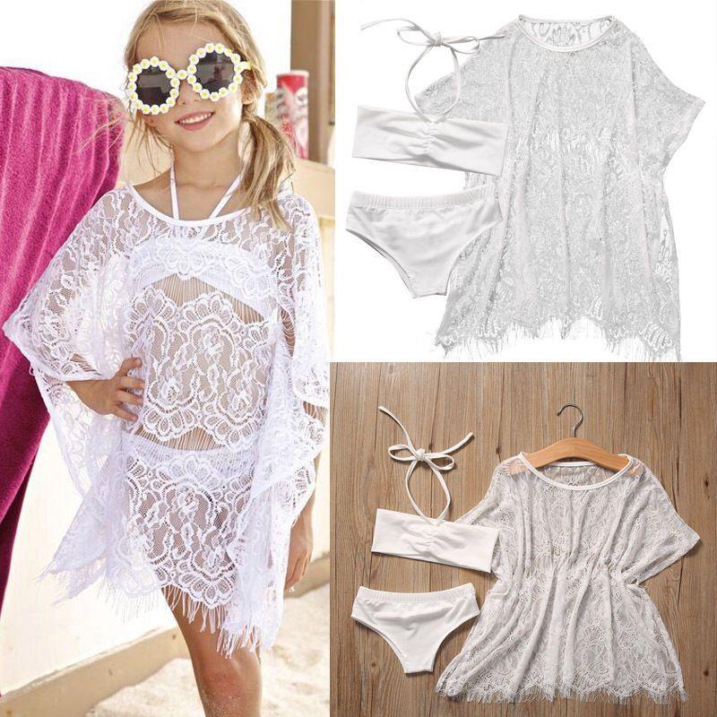 1e91663ac83 3 Pcs Baby Girls Beach Chiffon Cover-Ups+Bikini Sets Swimsuit Swimming  Oufits Cute Girl Beachwear Dress 1-6Y #Affiliate