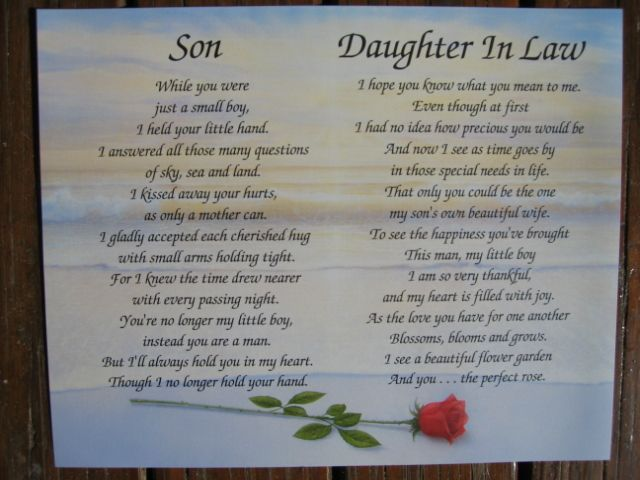 Wedding Gifts For My Son And Daughter In Law : daughter law poems daughter in law poems Son Daughter-in-law ...