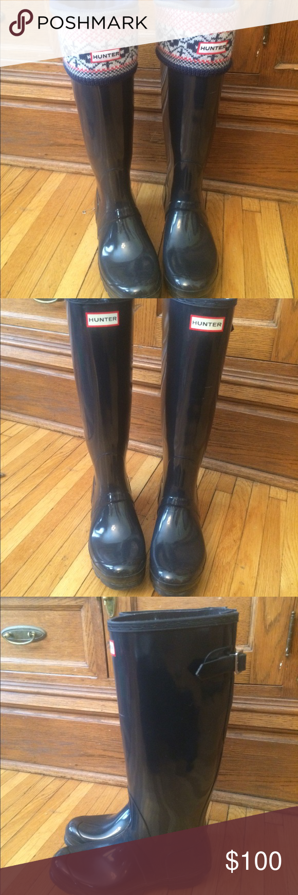 def8ab0a279 Hunter tall rain boot   Hunter boot socks These boots are High gloss Navy  color I