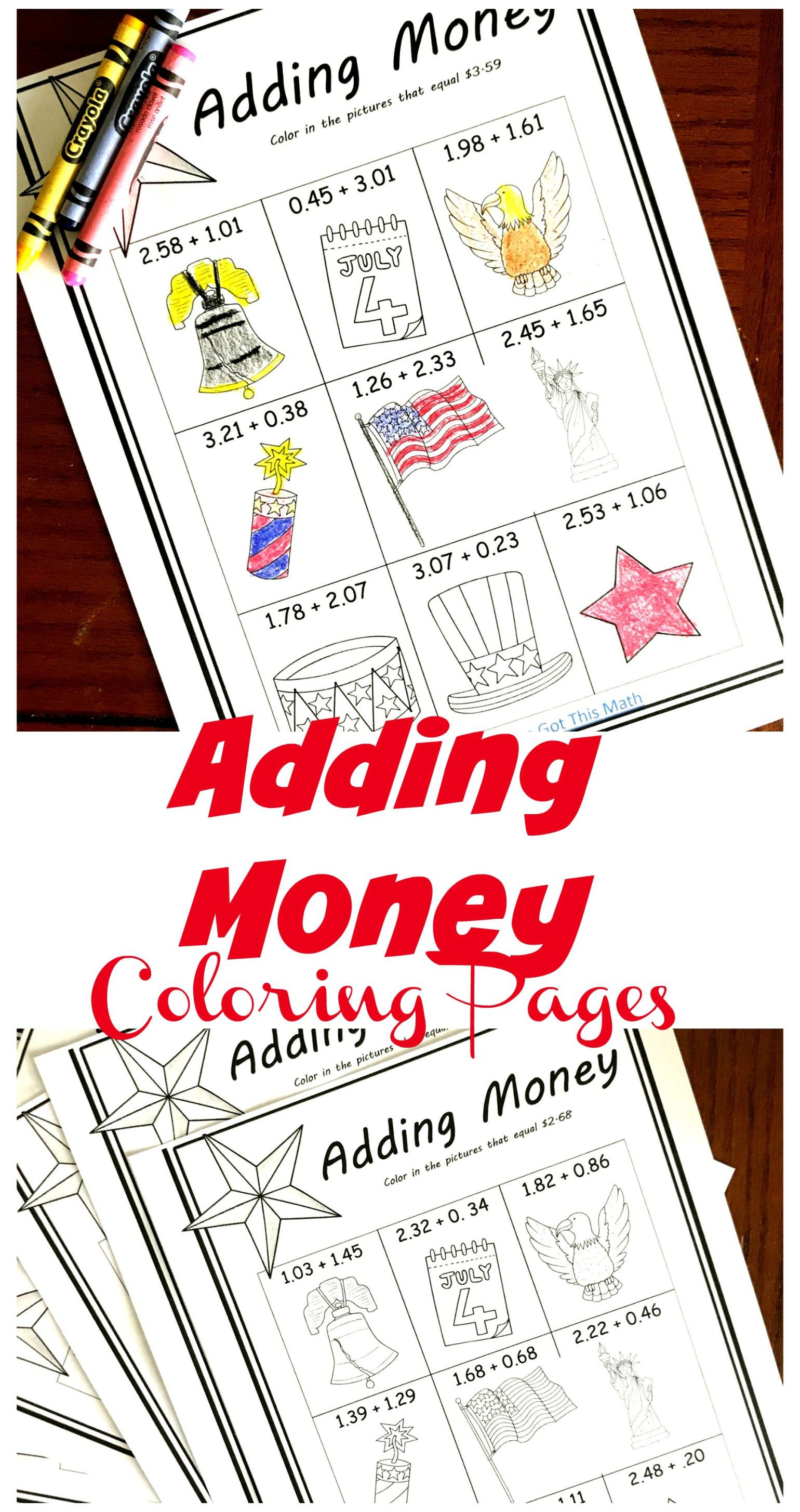 Five Free Coloring Adding Money Worksheets With A