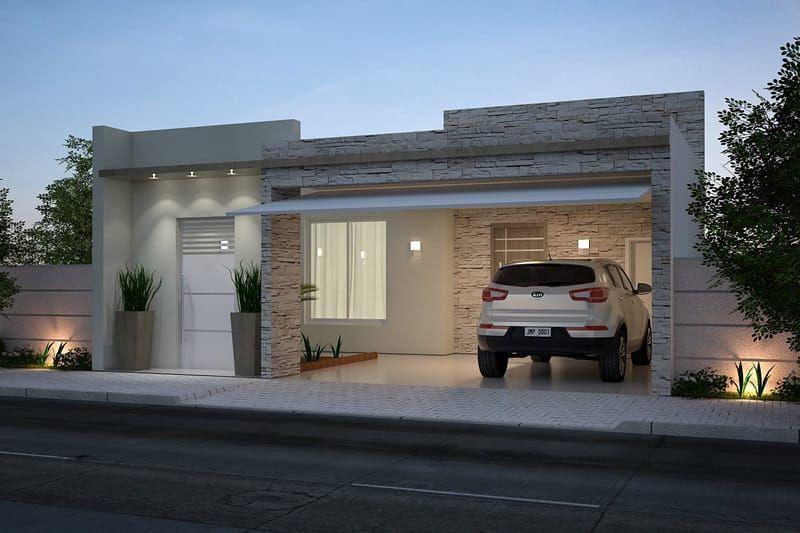Planta de casa com cozinha americana castilleja house for Casa moderna 80m2