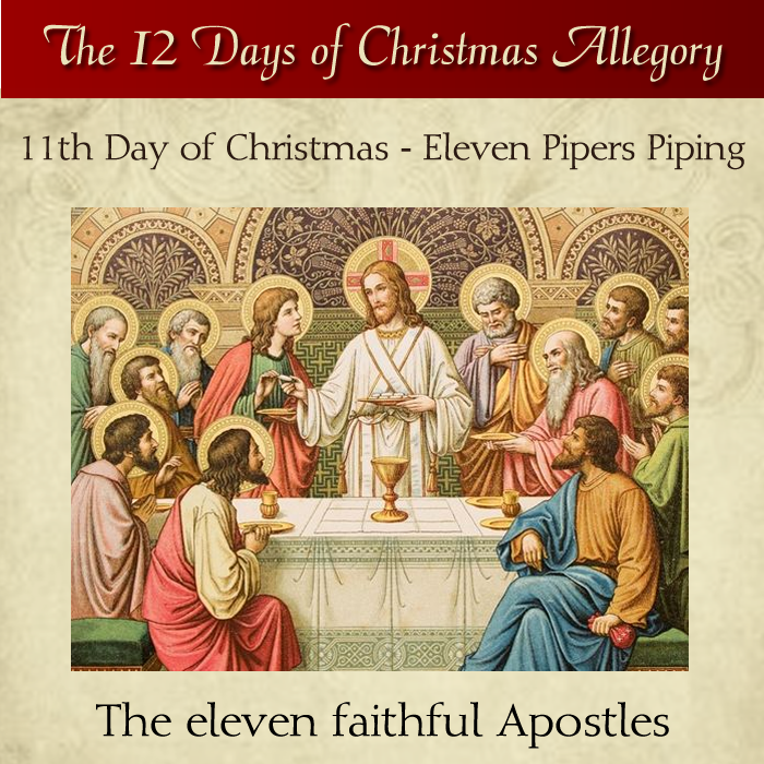 11th day of christmas eleven pipers piping the eleven faithful apostles daughtersofmarypress daughtersofmar