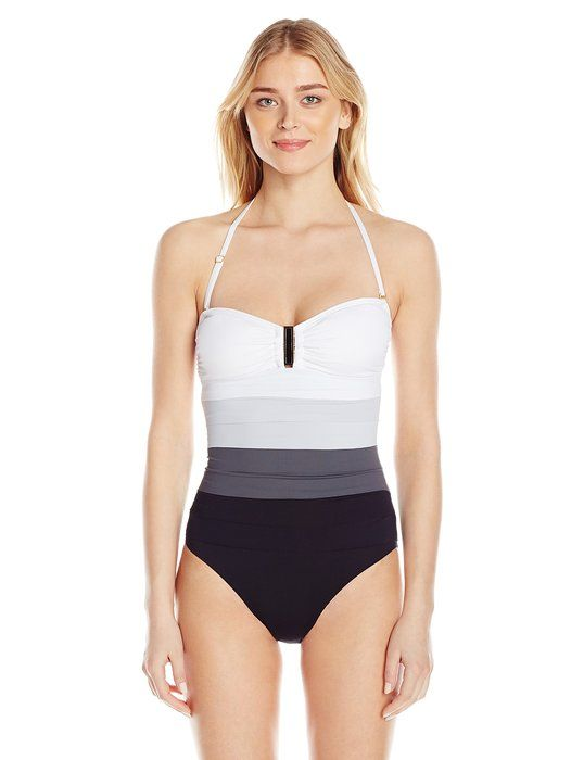 ca7accb9101 IVANKA TRUMP Women's Ombre Banded One-Piece Maillot Swimsuit,Black/White,10
