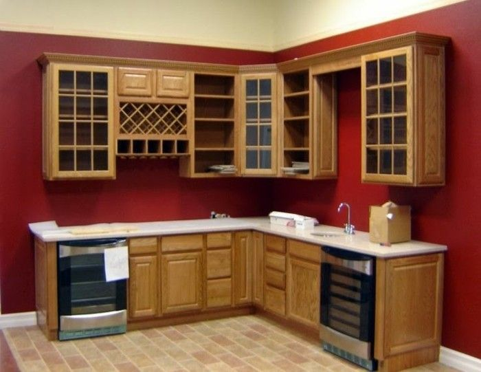 Top inspirant meuble de cuisine en bois rouge | Décoration française  NP14