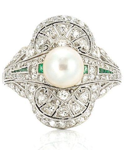 Edwardian Platinum, Pearl, Diamond and Emerald Ring, Circa 1910.