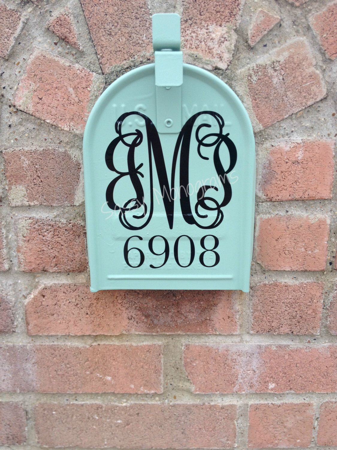 Custom Mailbox Personalized Monogram And Address Vinyl Decal By - Custom vinyl decals for metal