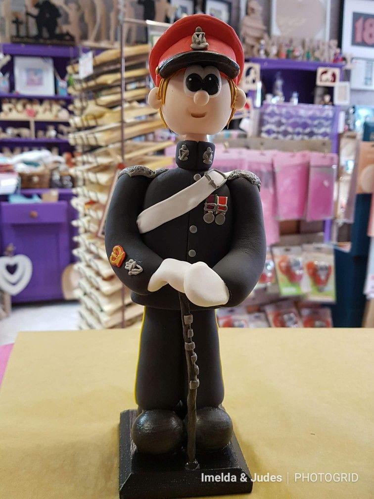 Figurine in an army style irish hussar drill sergeant