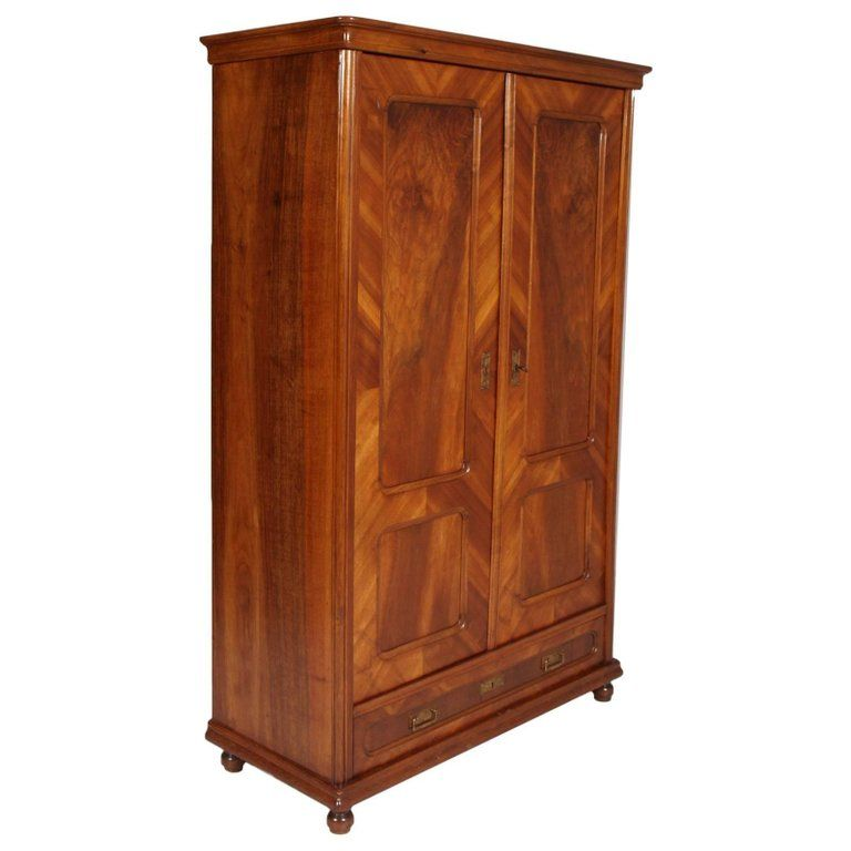 Italian 1850s Louis Philippe Armoire Or Bookcase Blond Walnut