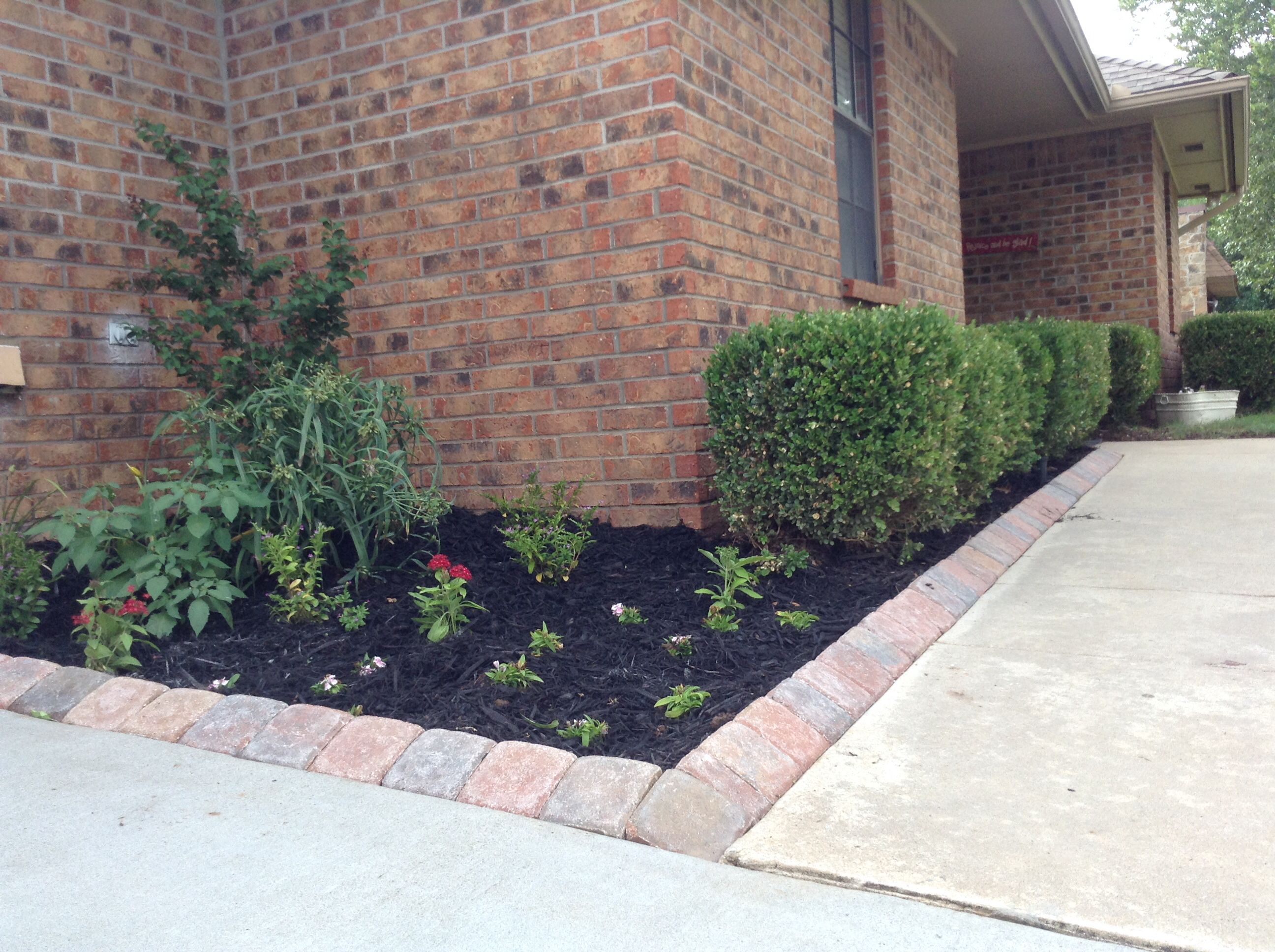 Angled pavers used as sidewalk edging for the home for Brick sidewalk edging