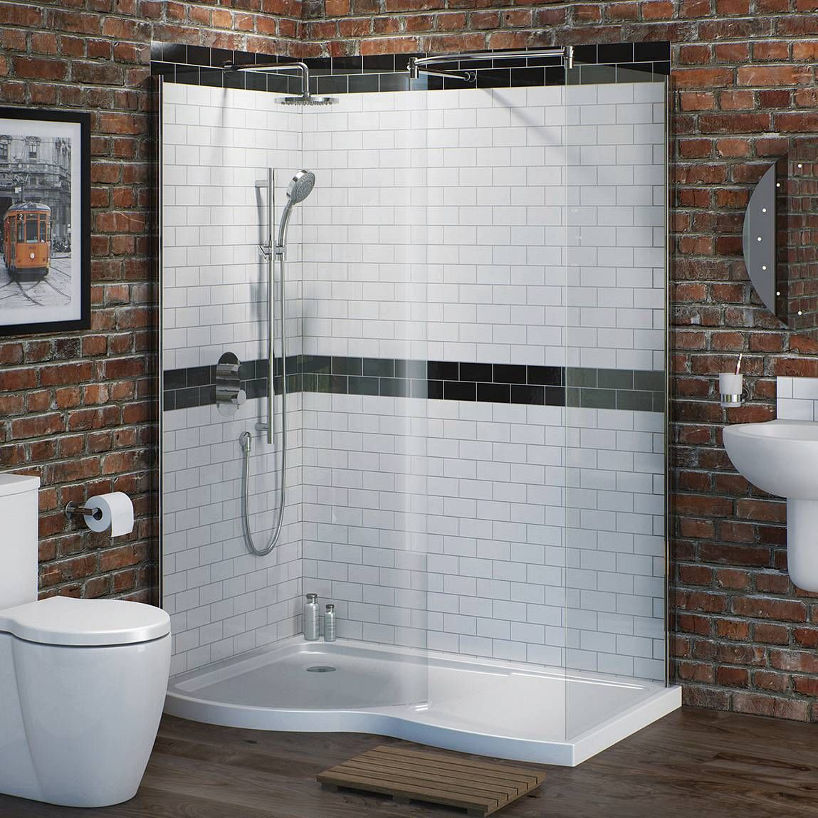 V6 Curved Walk In Shower Enclosure Pack 1400 x 900 - Left Hand ...