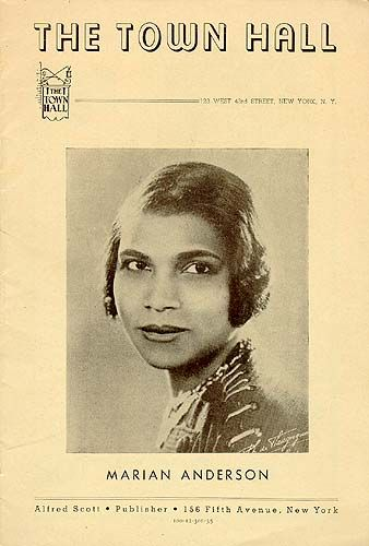 Marian Anderson Town Hall New York Concert Program