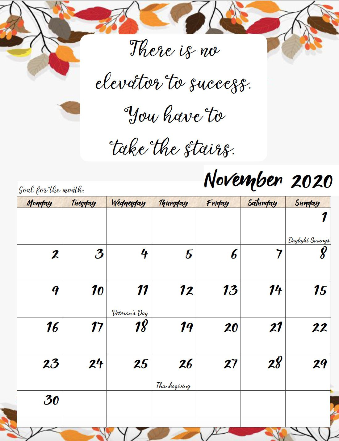 Free Printable 2020 Monday Start Monthly Motivational Calendars